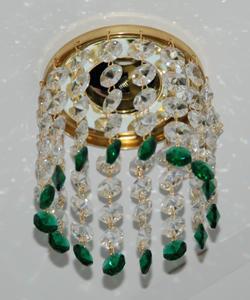 Кольцо с хрусталем Preciosa для точечного светильника 4(прозрачный) + окончание(зеленый) (99 0502)