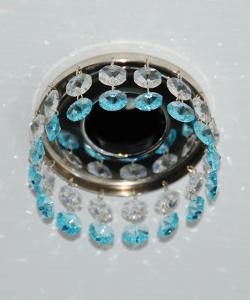 Кольцо с хрусталем Preciosa для точечного светильника 1(прозрачный) + окончание(небесный) (99 0203)